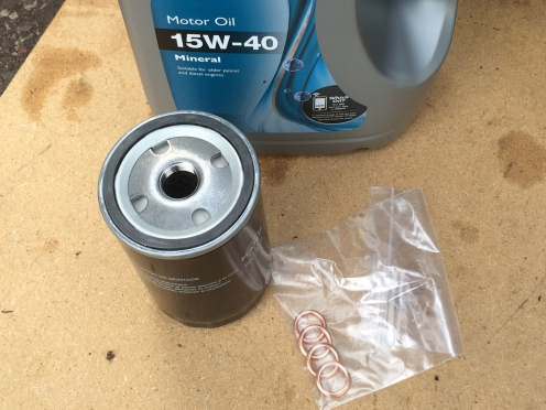 15W40 Mineral Oil, Oil filter, Oil Sump Plug Compression Washer
