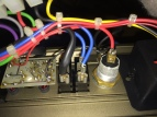 Rear of LED circuit board, switches and DIN socket
