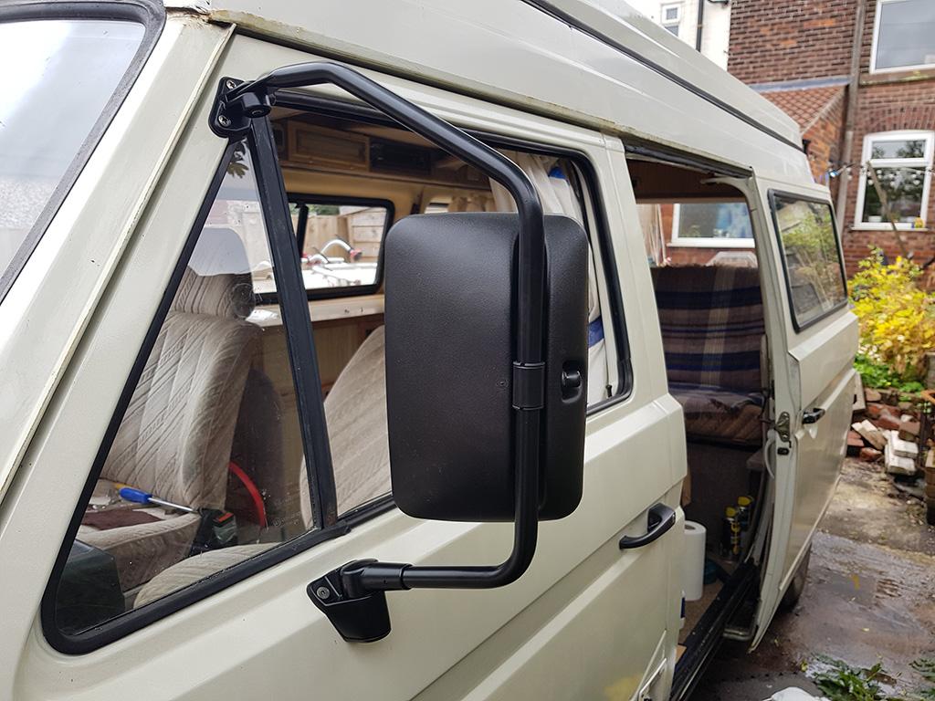 Truck mirror installed
